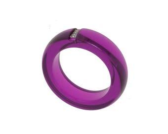 Resin purple and genuine diamonds ring
