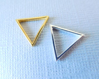 TRIANGLE Pendant Charm Link Connector / 1-10 pcs, 15 mm, 24k Gold Vermeil or Sterling Silver, Triangle Outline, MEDIUM, art solo to.15 to tb