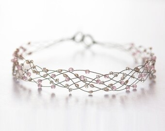 Pink crystal headband, Pearls headband, Crystal headband, Tiara, Wedding hair accessories, Pink diadem, Headbands, Wedding headband, Hair 42