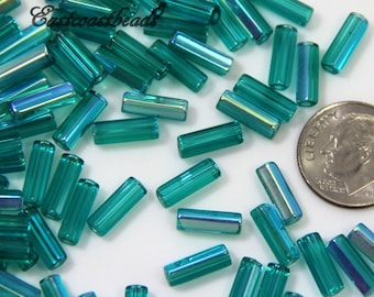 Tube Beads, 10x4mm, Green, Teal w/AB Finish, 30 Pieces, Atlas Beads, Faceted Beads, Accent Beads, Spacer Beads, Czech Beads, 30 Pieces, 0127