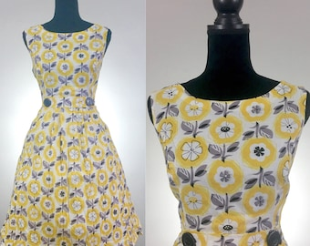 Lemonade Floral Cotton Dress, VLV Dress, Dapper Day Dress, Yellow Dress, Summer Dress, Dress Size Medium, Novelty Print, Tea Dress, 1960's