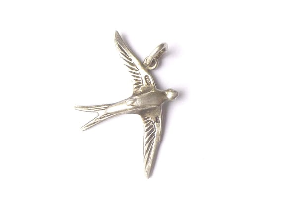 Swallow pendant charm silver vintage nature bird jewelry swallow pendant charm silver vintage nature bird jewelry swallow luck gift for her valentines day mozeypictures Gallery