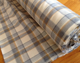 Cotton Flannel by the yard, Jamie, Fine Yarn Dyed Plaid, Butter/Gray