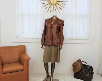 Rust color leather jacket with buttons