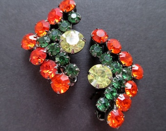 Rhinestone Earrings * Orange * Green * Yellow * Clip Ons * Classic Vintage