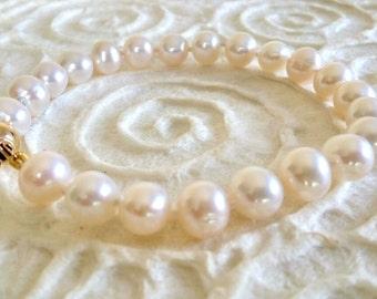 Bridel Pearl Bracelet, Wedding Jewelry, 14K Gold and Pearl Bracelet, Freshwater White Pearl Bracelet, Bridesmaid Bracelet, Women Jewelry