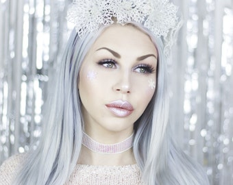 White Snow Queen Sparkle Crown - Headband - Christmas - Snow - Snowflake - Ice