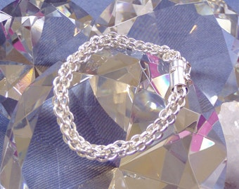 Chunky sterling silver chainmaille bracelet