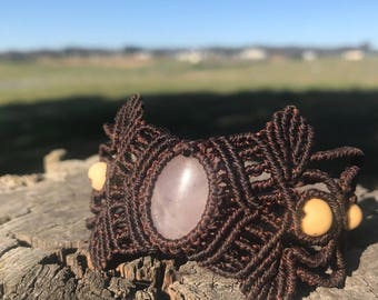 Rose quartz macrame cuff