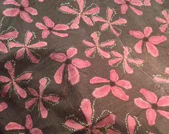 Pink and Brown flowered Corduroy by the yard 94 percent Cotton and 6 percent Spandex