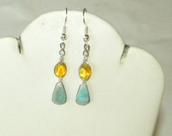"Larimar Earrings Handmade Dominican Yellow Amber Earrings Blue 12x8mm Cabochons 1 3/4"" Sterling Silver Blue Larimar Jewelry Free Shipping"
