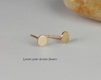 Gold Disc Earrings 14K Gold Studs Solid Gold Earrings 14K Minimalist Everyday Earrings Gold Jewelry