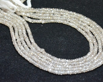 """3.5mm 6.75"""" Zircon faceted beads - natural and untreated ZIR005 (we suggest using 0.010in 0.25mm wire)"""