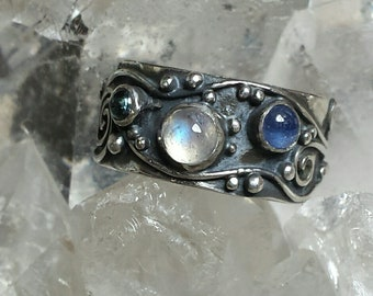 Sterling Silver Water Band set with Moonstone, Sapphire and Tourmaline