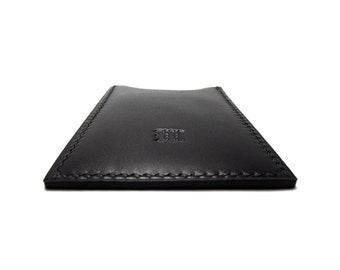 Black Leather Card Case / Personalized Monogrammed / Vertical Leather Card Holder / Black / Handmade by Sakao / stocking stuffer for man