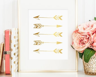Gold arrow print, bedroom decor, arrow gold foil art printable, gold tribal wall hanging, bedroom decor printable, gold arrow art printable