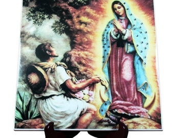 Our Lady of Guadalupe handmade ceramic tile - limited edition - with beads and rhinestones - catholic art catholic icons Virgin of Guadalupe