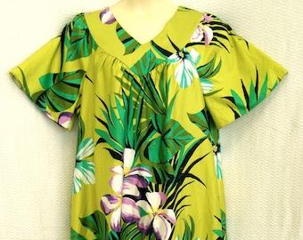 Long Vintage Hawaiian Muumuu Caftan XL (tag 16/18 L) Pocket Roomy House Dress Floral Lounge House Patio Hostess Pocket SEARS Hong Kong Green