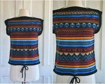 70s Sweater Knit Top Boho Drawstring Pullover Fair Isle Hippie Sweater