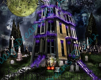 Original Addams Family TV Show Haunted House Halloween Tribute Art Exterior Look at Sky 8x8