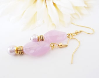 Lavender Earrings Bridesmaids Gift, Spring Wedding Jewelry Clip On Earrings, Orchid Lilac Beaded Dangle Earrings Handmade, Mothers Day Gift