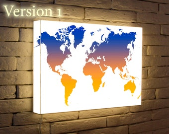 Mapa del mundo led etsy world map light poster personalized wall lamp art lighted sign night light light up gumiabroncs Gallery