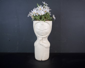 Vintage 1970s Sculpture / Girl with Flowers / Austin Productions