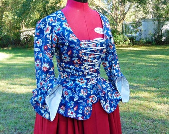 CUSTOM MADE 18th century Casaquin, Caraco Jacket and Petticoat. Hand Stitched. Cotton & Linen. Fabric Options Available