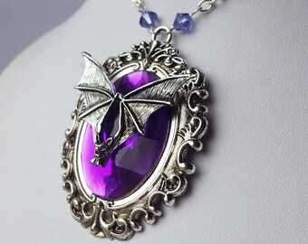 Purple Mina Vampiro Gothic Bat Jewel Necklace