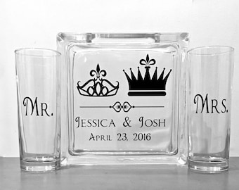 Unity Sand Ceremony Glass Containers - Personalized Glass Block with King and Queen Crowns - Side vessels Mr.  Mrs. - Royalty