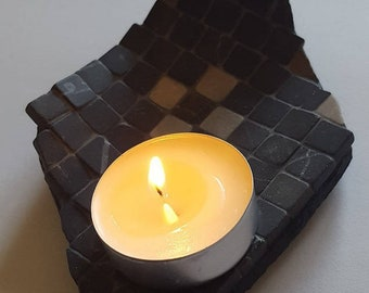 Candle holder mosaic; mosaic tea light holder; marble; leaf