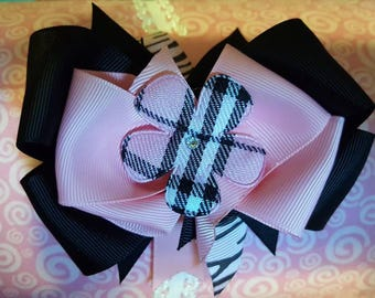 Pink and Black Plaid Flower Bow