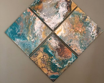 Fluid Art - set of FOUR 10x10 Paintings - wall decor, hand painted