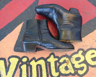 """VINTAGE 1980""""s Men's Black Leather Ankle Boots - available"""