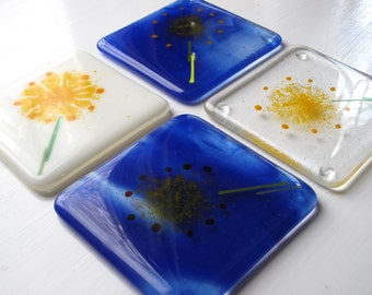Glass coaster, Fused glass coaster, Flower coaster, Dandelion, Unusual gifts, Mothers day gift, Modern fused glass coater, Blue coaster