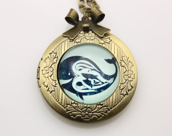 Whale Necklace, Whale locket, 2020m