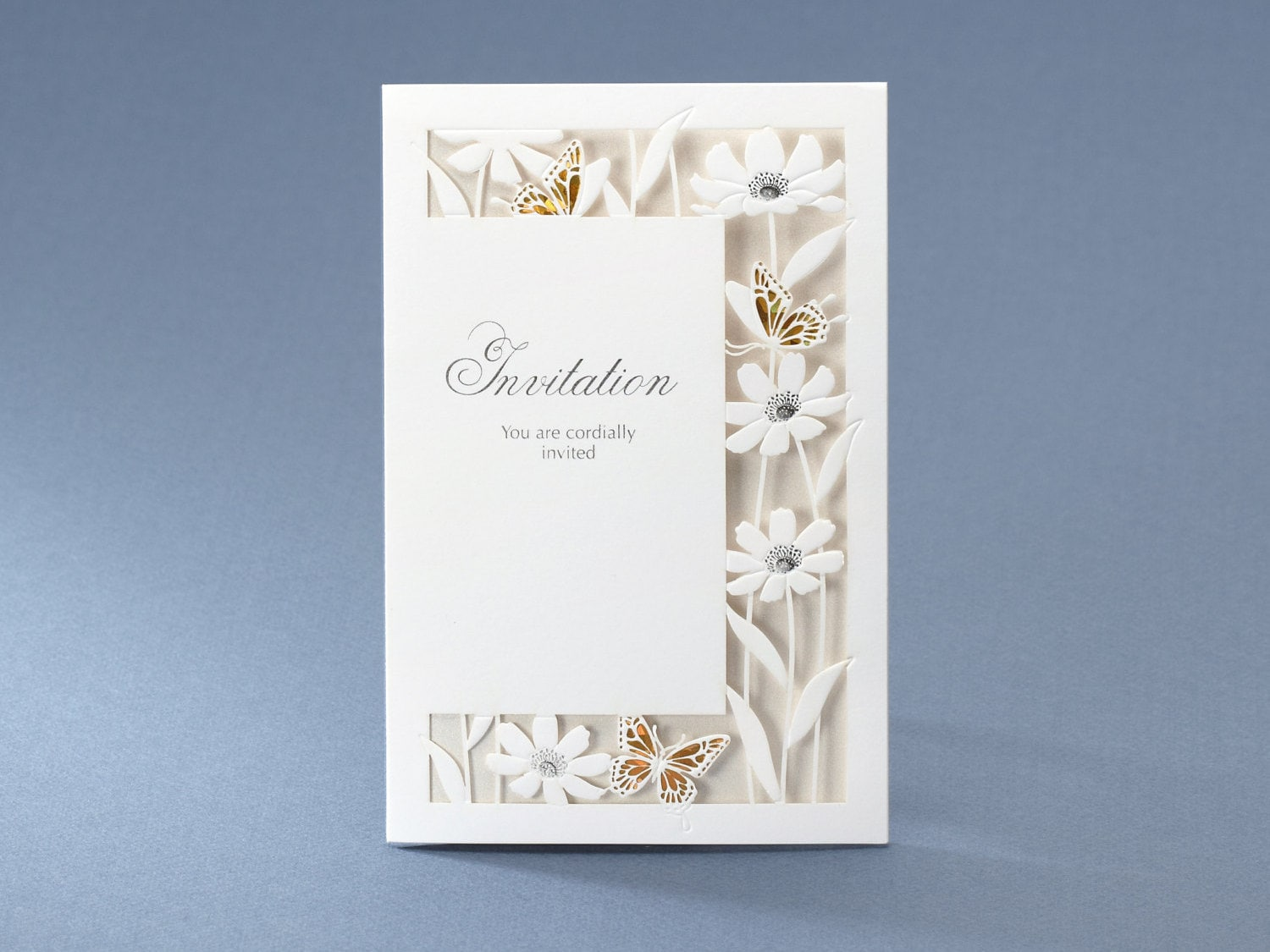 Free Personalized Wedding Invitations: Personalized Laser Cut Laced Wedding Invitations With Flowers