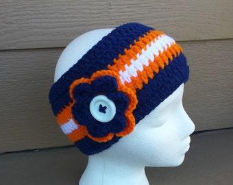 Denver Broncos Crochet Ear Warmer Headband - Crochet headband - Adults headband - Ear warmer headband - Crochet - Handmade