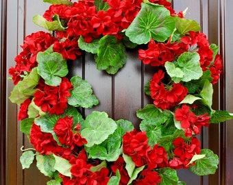 Red Geranium wreath~spring wreath~summer wreath~front door wreath~wreaths for front door~welcome wreath~Porch decor~Flowers for Summer