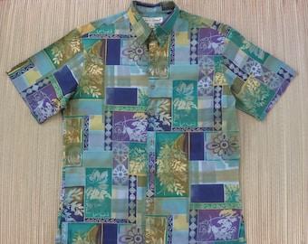 Mens Hawaiian Shirt TORI RICHARD Tropical Tribal Tiki Tiles 100% Cotton Aloha Shirt Casual Beach Resort Wear - M - Oahu Lew's Shirt Shack