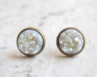 Starlight - White Druzy Bridesmaid Stud Earrings