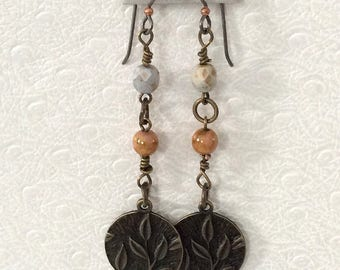 Antique bronze leaf charm Czech glass earrings