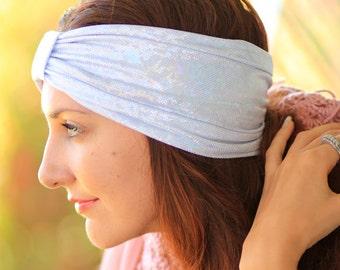 Turban Headband in White Iridescent Metallic - Women's Fashion Head Wrap - Sparkly Turbans