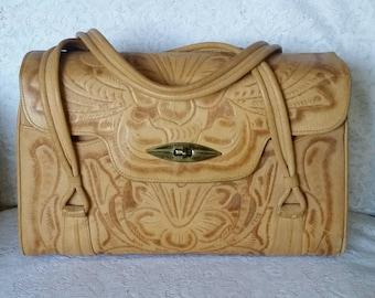 Moving SALE -  Vintage, Leather Handbag, Wonderfully Boho-Chic, Vintage, Tooled Leather, Handbag