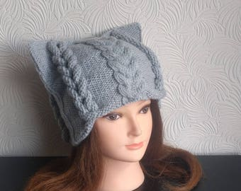 Womens winter hat – Cat ear hat – Cat beanie – Cat hat - Knit hat – Cat hat for women - Wool hat - Beanie for women - Winter beanie