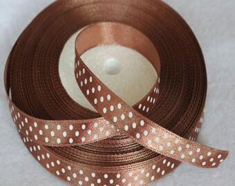 "Brown & White Polka Dot Satin ribbon-3/8""-10mm-10 YDS"