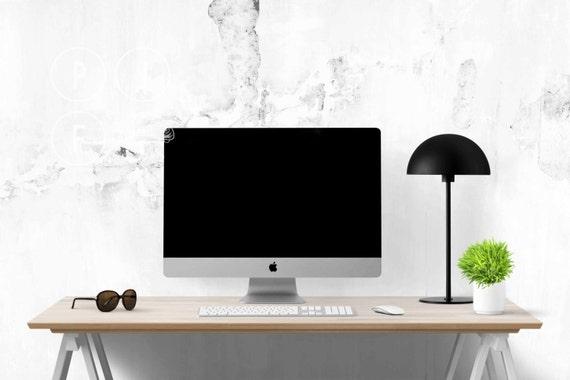 desk mockup computer mockup iMac mockup office stock photo
