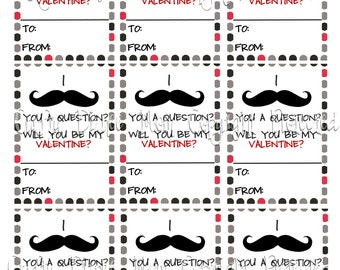 Mustasche You Printable Valentine's Day Cards