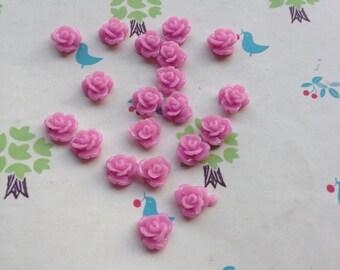 100pcs 8mm Purple Rose Flowers Cabochons Cameo Base Setting