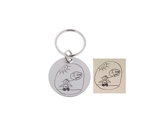 Father's Day, Handwriting Keychain, Gift For Dad, Fathers Day, Signature Gifts, Gifts for Him, Gifts for Step Dad, Gifts from Kids, Drawings